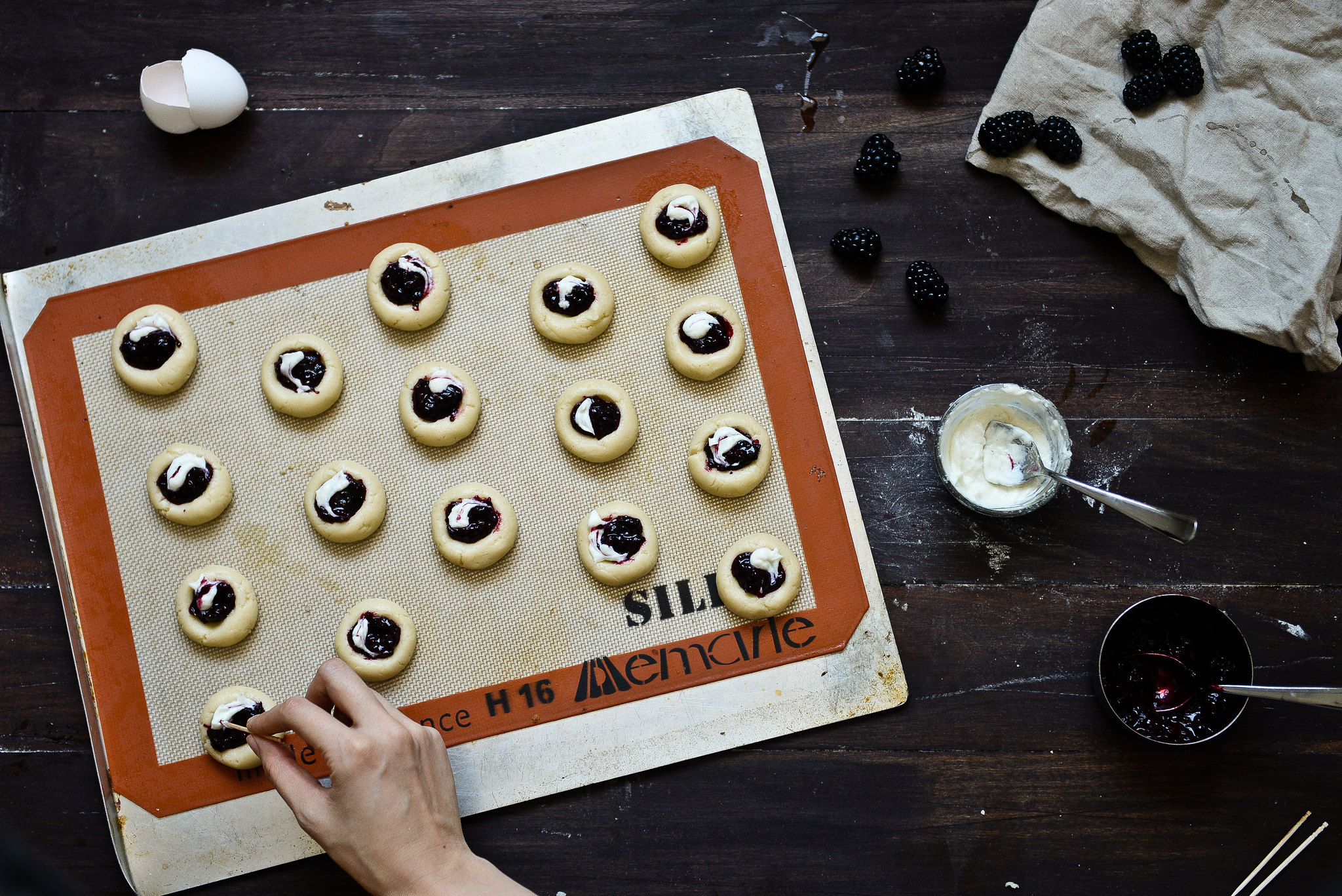 Blackberry-goat cheese thumbprint cookies