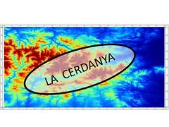 Mapa amb el relleu de part dels Pirineus. Es destaca la ubicació de la Cerdanya.