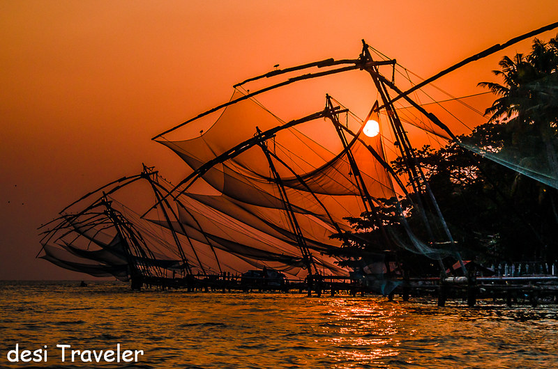 Sun caught in the chinese fishing net Fort Kochi Kerala