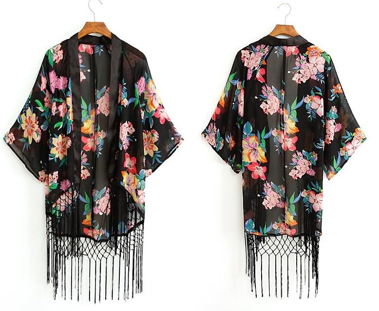 O2 Floral Chiffon Shredded Kimono