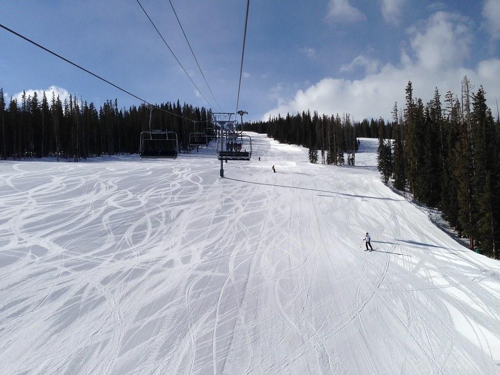 Skiing down Centennial