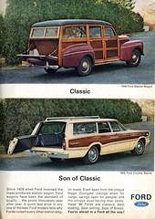 1966 Ford Country Squire Advertisement with 1946 Ford Station Wagon Readers Digest July 1966