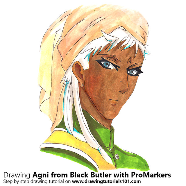 Agni from Black Butler with ProMarkers [Speed Drawing]