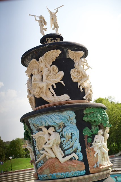 One of the many elaborate fountains