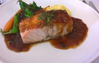 Tasmanian Salmon with polenta and broccolini