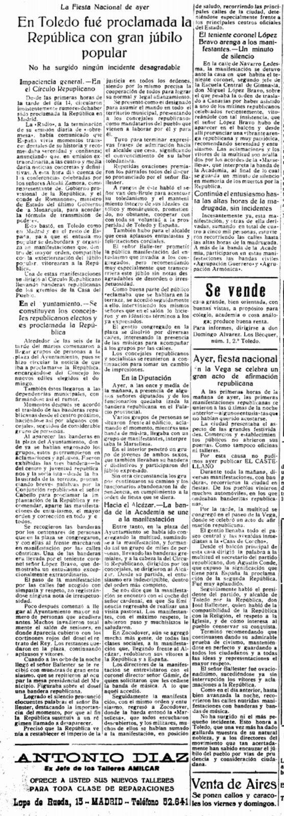 Reseña de la proclamación de la II República en Toledo en el diario El Castellano (16 de abril de 1931)