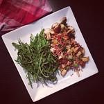 ruccola, champignons, bacon, quietschekäse
