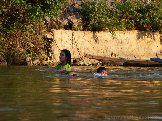 Vang Vieng Tubing 15 Local Kids Swimming in Nam Song