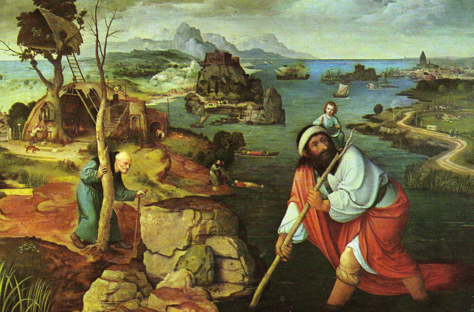 Paisaje con San Cristóbal. Obra de Joachim Patinir. Año 1520