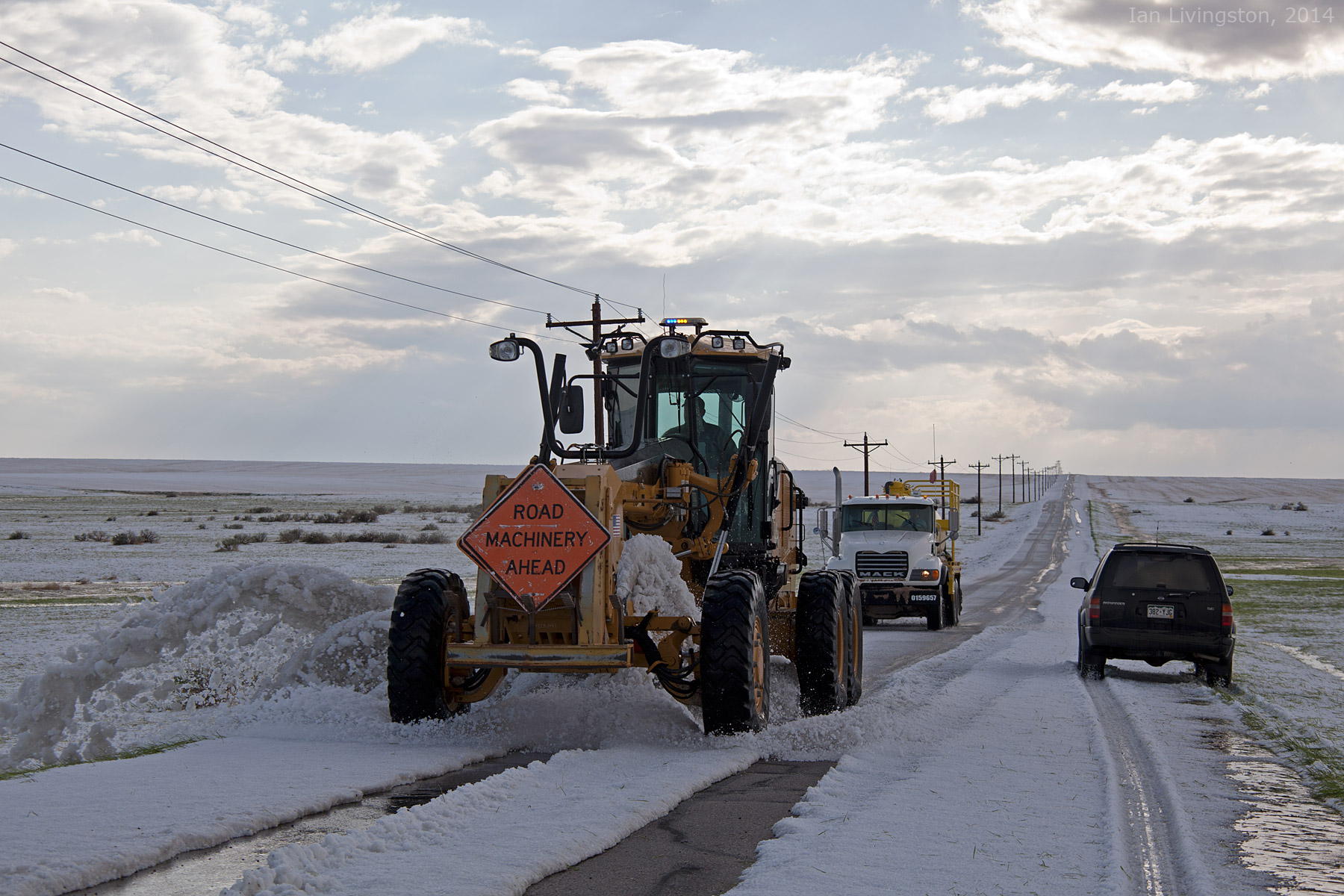 Plowing the hail north of Strasburg, CO (@ianlivingston)