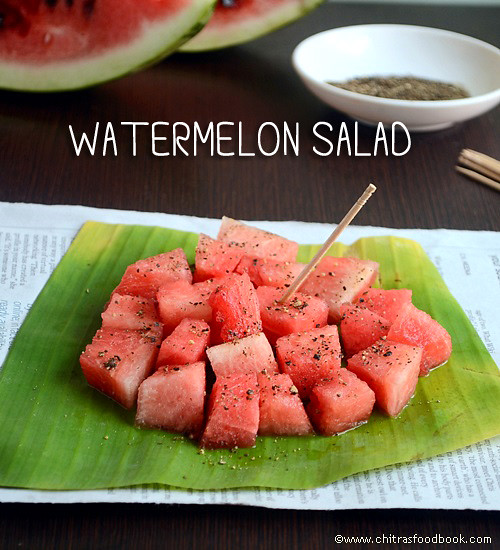 Easy watermelon salad recipe indian style chitras food book easy watermelon salad recipe forumfinder Image collections