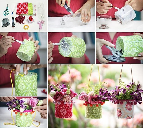 DIY Pretty Hanging Plastic Bottle Vases for Party Decor
