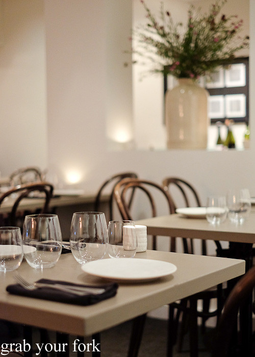Dining room at Pinbone, Woollahra