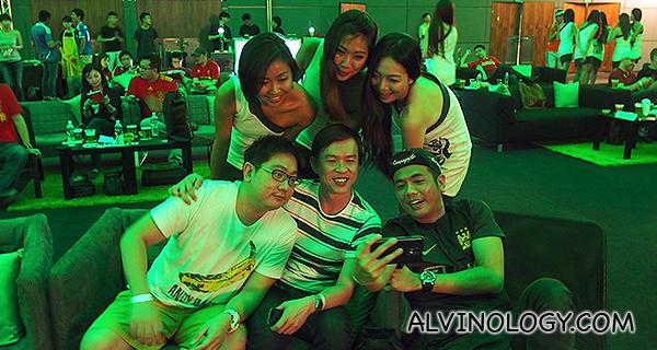 Take selfie with the Carlsberg ladies