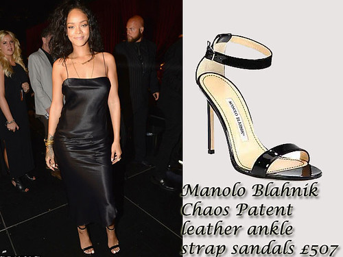 Rihanna in Manolo Blahnik Chaos Patent leather ankle strap sandals