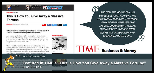 "June 6, 2014: Featured in TIME's ""This Is How You Give Away a Massive Fortune"""