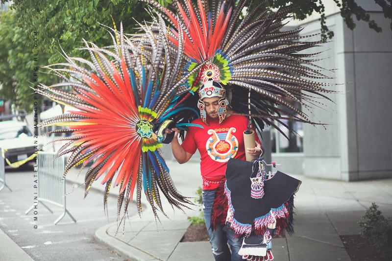 Danza Azteca Traditional Dancer getting ready