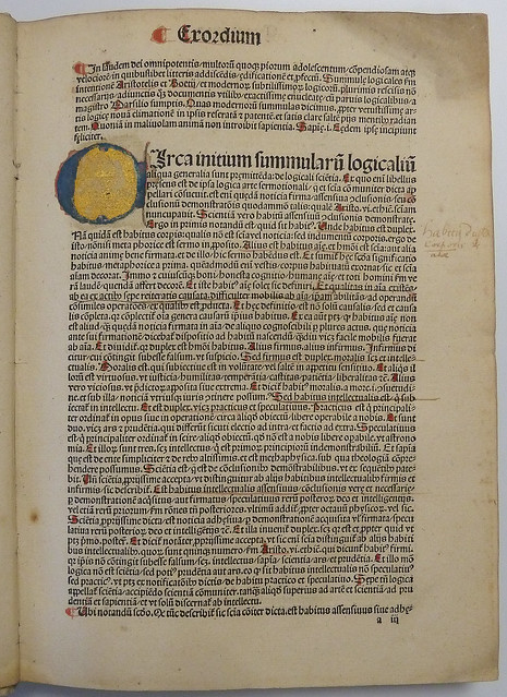 "Leaf a3r of an incunable edition of Florentius Diel's ""Modernorum summulae logicales"" with 7-line illuminated initial C, rubrication, and a few ms. underlines and marginal note in brown ink from Flickr via Wylio"