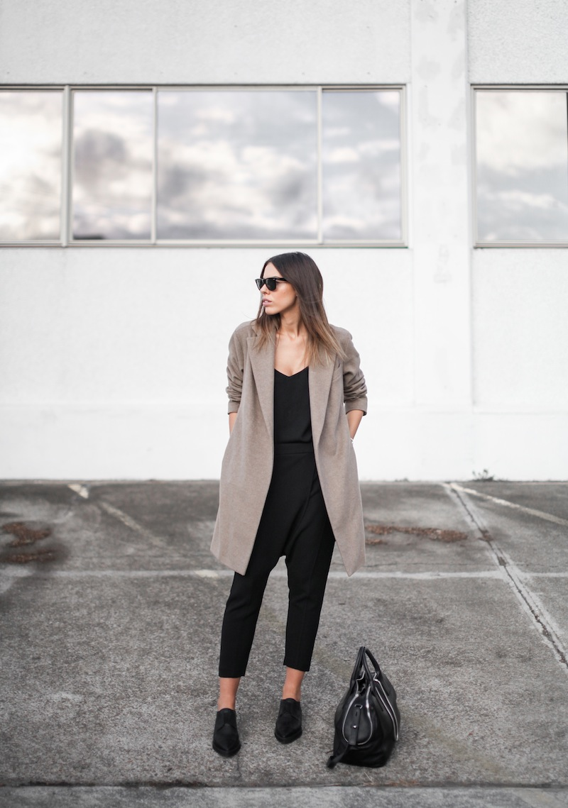 modern legacy blog street style off duty Zara camel long coat Camilla and Marc Zoya Cami Hacker drop crotch pant all black Helmut Lang Benday oxford perforated leather sale Alexander Wang chain bag clean masculine minimalist (3 of 14)