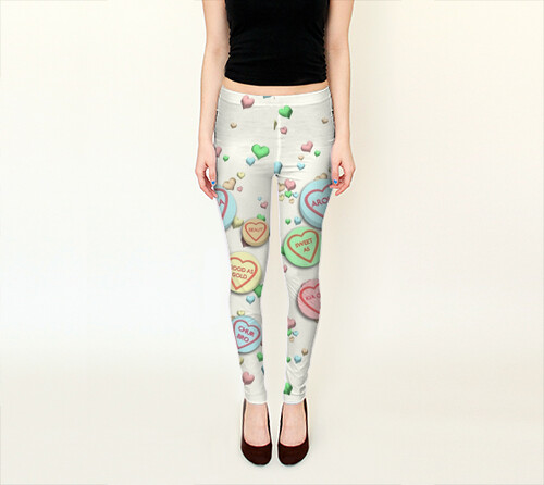 Kiwi Sweet Hearts Leggings by Squibble Design 1