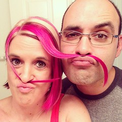 We both have pink mustaches lol