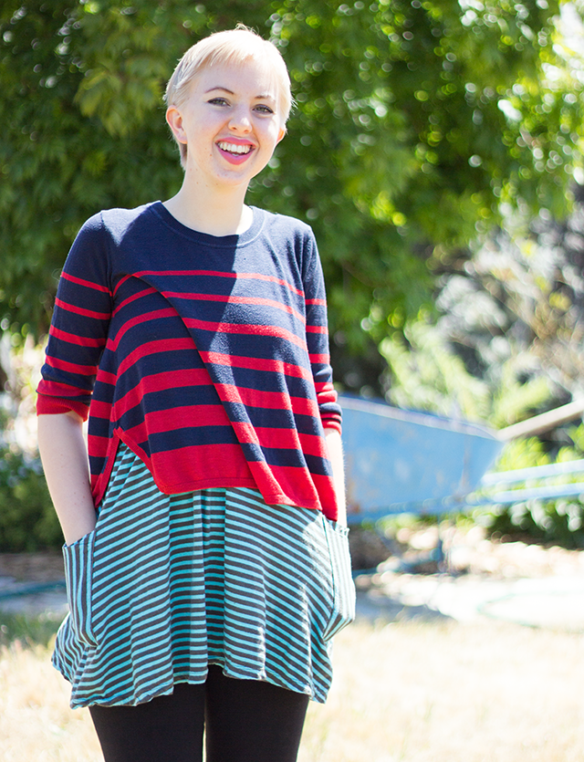 bright red and navy blue cropped sweater over mint striped babydoll dress and black leggings