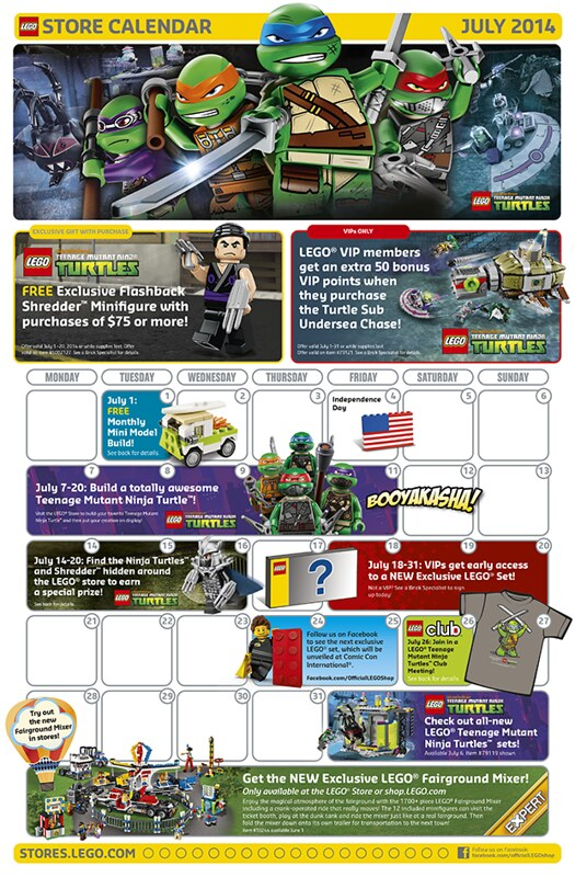 LEGO Shop July 2014 Calendar
