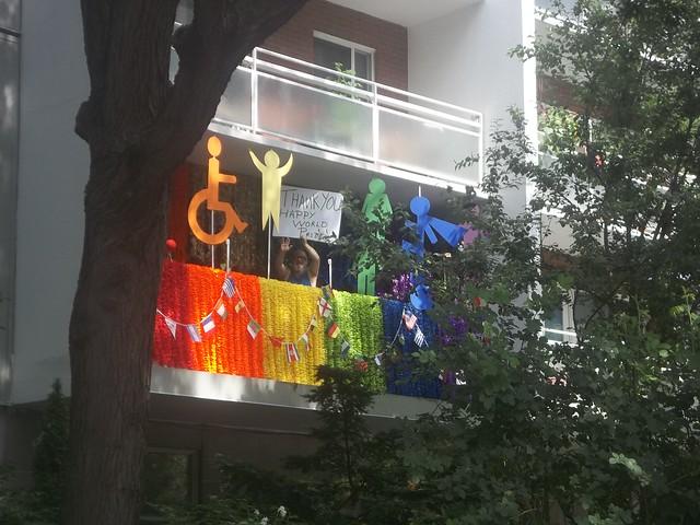 A rainbow on an apartment balcony