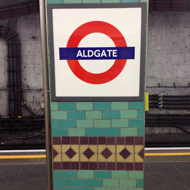 4pm - excellent tiles at Aldgate station #london #tube