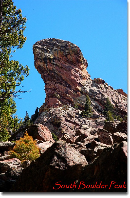 The Devil's Thumb as seen from the Shadow Canyon trail