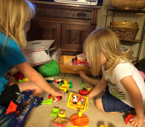 Love watching my girls play with the Fisher Price little people toys that were mine when I was little.