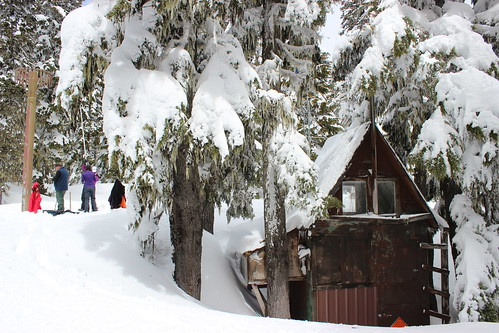 NRCS hydrologists measure snow near the SNOTEL site on Mt. Hood, Oregon. NRCS photo.