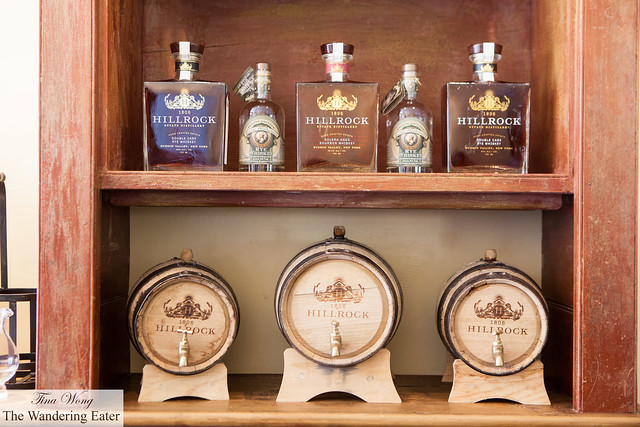 The small oak barrels and their line up of whiskies at the Tasting Room