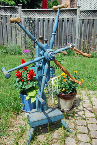 Blue painted antique wood click reel yarn winder weasel