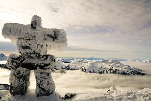 winter canada mountains whistler britishcolumbia inversion inukshuk blacktusk blackcomb whistlerblackcomb inuksuk