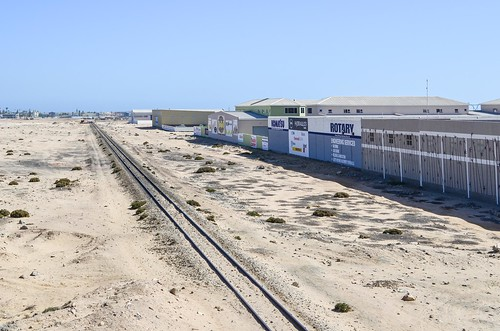 Railway from the desert into Swakopmund, Namibia