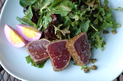 Seared ahi tuna, pickled egg, field greens, crispy capers, haricot verts, nicoise dressing at The Huguenot restaurant in New Paltz by Eve Fox, The Garden of Eating copyright 2014