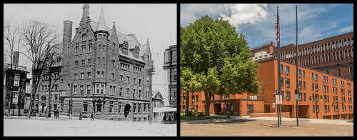 The old YMCA building in Cathedral Square c. 1890 vs. the same location in 2014 by Eric Harrison, via I {heart} Rhody