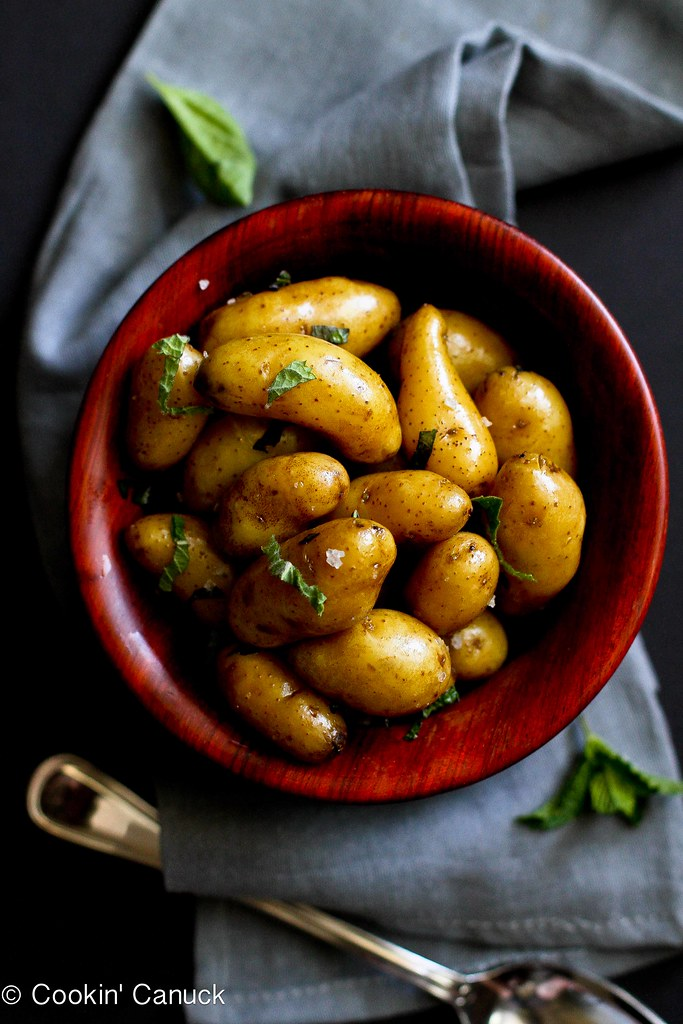 Boiled potatoes tossed in olive oil and seasoned with herbs and salt, make a fantastic side dish for any meal. 87 calories and 3 Weight Watchers Freestyle SP