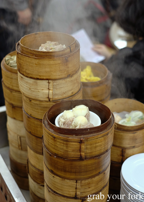 Bamboo steamer baskets with dumplings at Lin Heung Tea House in Central, Hong Kong