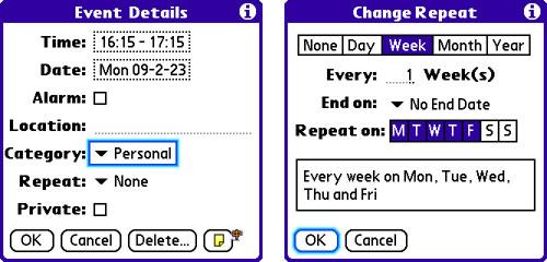 在Palm OS上调整日程时间
