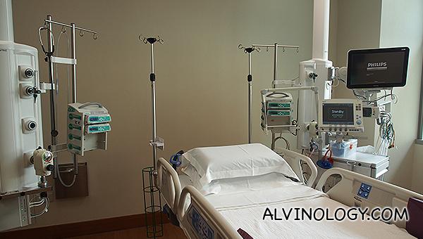 A hospital in an ICU room in Mount Elizabeth Novena