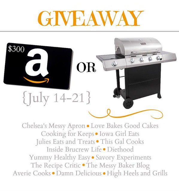Enter for a chance to win a $300 Amazon Gift Card or a brand new Grill!! Stop by Love Bakes Good Cakes to enter and to find great, family-friendly recipes! #giveaway