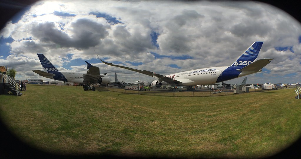 Airbus's big jets: Heavies by fisheye. #FIA14