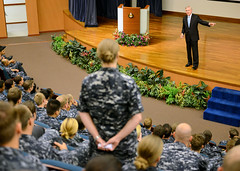 Secretary of the Navy Ray Mabus addresses U.S. Navy Sailors at Changi Naval Base in Singapore during CARAT. (U.S. Navy/MC1 Jay C. Pugh)