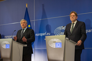 Press conference with President Tajani and EP Cooridinator Guy Verhofstadt