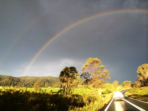 Rainbow caught after a storm whilst travelling (iPhone pic)