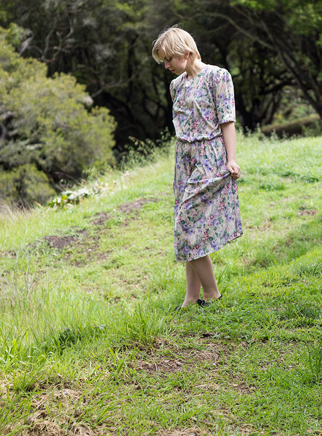 vintage pastel floral tea-length dress, fresh green grass