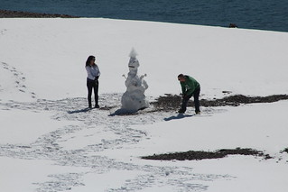 Building a snowman at spray lakes