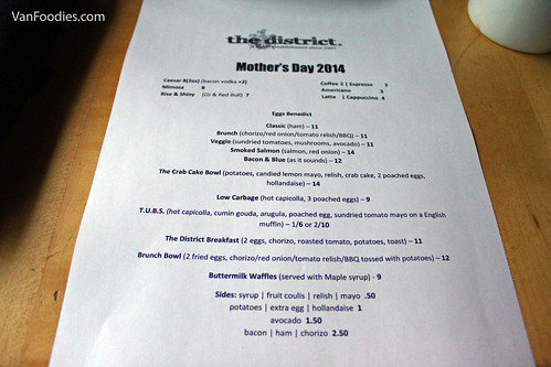 Mother's Day menu at The District